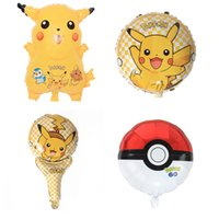 Wholesale Poke Balloon Pikachu Balloons Party Adornment Foil Double Sided Ballons Poke Go Party Supplies Halloween Christmas Gifts inch E2