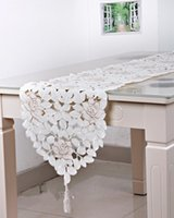 Wholesale New Hot cm Embroidery Table Runner Satin Polyester Embroidered Floral Handmade Cutwork Table Cloth Cover Decors Textile