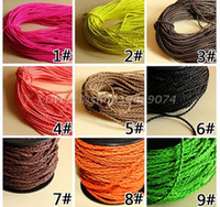 leather cord braided - 3 mm Wide Round Braid Leather Cords String Rope Jewelry Beading String For Bracelet Necklace DIY Jewellry Accessory
