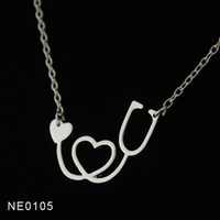 Wholesale Drop shipping Fashion K Gold Rose Gold Silver Plated Medical Stethoscope Heart Collar Body Chain Necklace Jewelry Gift for Nurse Doctor