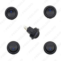 Wholesale 5pcs Car Boat Auto Motorcycel LED Dot Light V Round Rocker ON OFF SPST Switch with Blue Light