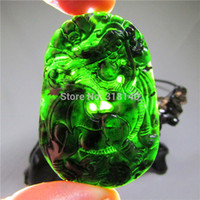 hand carved jade - Chinese natural black green jade pendant necklace old jadeite dragon hand carved