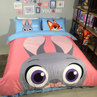Wholesale 2016 New Arrival Zootopia Rabbit Judy Printed Queen Size Egyptian Cotton Bedding Set Duvet Cover Set