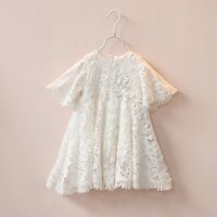 Wholesale 2016 New Girl Dress White Lace Hollow Summer Dresses Girl Princess Dress Children Clothing T