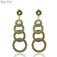 big black earings - Blue Fox Fashionable earings long k gold earrings for women Wedding Big earrings with crystal drop earrings Woman jewelry