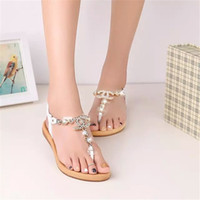 Wholesale summer styles women sandals female rhinestone comfortable flats flip gladiator sandals party wedding shoes