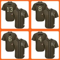Wholesale Royals Salvador Perez Mike Moustakas Lorenzo Cain Alex Gordon Green Salute to Service Stitched Baseball Jersey Top Quality