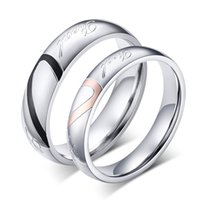 Wholesale Wedding Bands Rings For Women Men Love Heart Stainless Steel women4 size men size