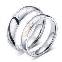 Wholesale Wedding Bands Rings For Women Men Love Heart Stainless Steel women4 size men size