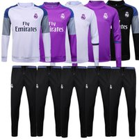 Wholesale Top quality jerseys Real Madrid Football Training suit long sleeve soccer Soccer tracksuit Sets whit pants ET