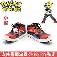 ash ketchum shoes - Pocket Monsters XY Ash Ketchum black red ver cos Cosplay Shoes Boots shoe boot NC995 anime Halloween Christmas