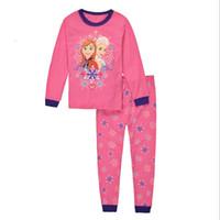 Wholesale 100 cotton girls long sleeve pajamas sets spring autumn kids clothing home sleepwear clothes set underwear