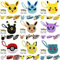 Wholesale Poke pokémon go wallet bags kids poke Purse Children cartoon Poke Ball Pikachu Jeni turtle Sylveon Keychain wallet Purse