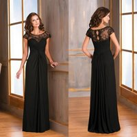Wholesale elagant black long cap sleeves mother of the bride dresses sheer lace backless chiffon fashion prom dress formal plus size evening gowns
