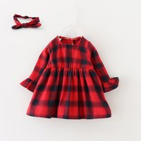 baby foreign trade - Little Girls Classic Grid Dresses Autumn Korean Girls Boutique Clothing Foreign Trade Baby Kids Long Sleeves Dresses Age Years