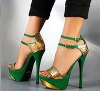 alto cover - LW shoes new verano nueva moda y mujeres sexy tacones altos plataforma hebilla de correa verde grande tamaño