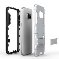 achat en gros de armure bouclier-Défenseur d'armure hybride pour Galaxy Note4 Note5 S5 S6 S7 bord dur étui Heavy Duty Armure Bouclier 2-en-1 double couche Kickstand Case Cover