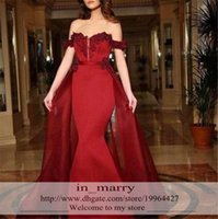 arts italy - Sexy Burgundry Over Skirt Mermaid Arabic Evening Dresses Off Shoulder Plus Size Lace Appliques Dubai Italy Peplum Formal Party Gowns