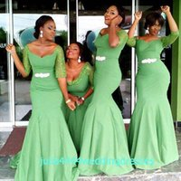 african trumpet - 2016 Cheap Bridesmaid Dresses Long Maid of Honor Dress For Wedding Party Guest Mermaid African Scoop Half Sleeve Lace Green Elastic Satin