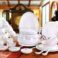 Wholesale High grade genuine bone china tableware suits jingdezhen ceramic tableware disc