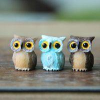 antique folk art doll - Sale artificial mini cute owl birds dolls fairy garden miniatures gnome moss terrarium decor resin crafts bonsai home decor for DIY