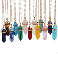 Wholesale 2016 multicolor Bullet Shape Natural Stone Pendant Hexagonal Prism Quartz turquoise Crystal gems necklace Jewelry for women men Gold Silver