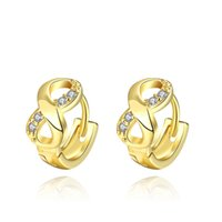 Wholesale Gold Classic Geometric Shape Fashion Cubic Zirconia Earrings In Europe and America Style as Holiday Gifts