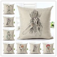 beautiful watercolor - Retro Beautiful girl Cotton Linen Cushion Cover Watercolor Pillowcase Chair Seat and Waist Square Pillow Cover without pillow