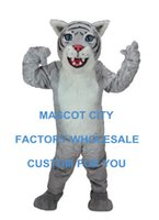 baby celebration party - Light Grey Wildcat Cub Mascot Costume Wildcat Baby Mascotte Outfit Suit Fancy Dress for Holiday Party Celebration Cosply SW618