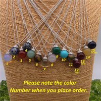 beauty match - Neutral Fashional all match Classical Mixed Color Natural Stone Beads Pendant Necklace Sliver Popcorn Chain Transfer Beauty