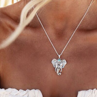 Wholesale Boho Antique elephant Necklaces Pendants New bohemian antique silver Ethnic Turquoise Elephant Choker Necklace Chain jewelry for women