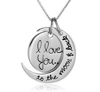 Wholesale 2015 Hot Styles Gold Silver I Love You To The Moon and Back Necklace Lobster Clasp Pendant Necklaces