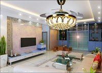 bedroom ceiling fan - with controller living room bedroom dining room fashion crystal LED inch ceiling chandelier fan lights Fan chandelier