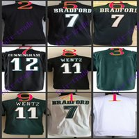 baseball eagles - Youth NIK Game Football Stitched Eagles Blank Bradford Carson Wentz Cunningham White Green Black Jerseys Mix Order