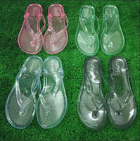 plastic slippers - Woman s Fashion PVC Plastic Transparent Sandals Crystal Flip Flops Thong Flat Slipper Summer Candy Color Jelly Beach Shoes