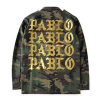 Wholesale Kanye West Camouflage Pablo Jacket Yeezus Pablo Kanye Jackets Army Denim Jacket Men High Quality Streetwear Coats