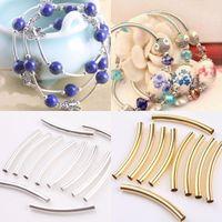 Conector de tubo de pulsera Baratos-Plata / oro / níquel liso tubo curvado granos del encanto del conectador de la joyería para las pulseras Encontrando la fabricación de joyas de bricolaje