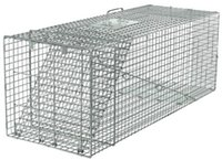 animal crates - Live Animal Trap Racoon Skunk Rabbit Dog Cat Steel Cage Collapsible Humane Large
