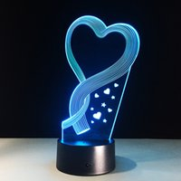 Wholesale 2017 Hearts Style D Optical Illusion Lamp Night Light DC V USB AA Battery Dropshipping
