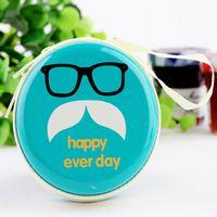 Wholesale Hot selling Big Beard Face Designs Round Portable Coin Wallet Purse Hard Key Earphone Holder Case Bag