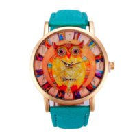 auto paint cheap - Newly Design Art Paint Owl Printed Watch Faux Leather Analog Men Women Geneva Watches Cheap watch heart