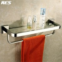 Wholesale KES A2621 Bathroom Lavatory Tempered Glass Shelf with Towel Bar Wall Mount Polished Stainless Steel Silver