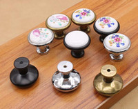 alloy knob door - New Arrive Vintage Ceramic Alloy Door Handles White Bronze DIY Home Kitchen Shoe Cabinet Cupboard Wardrobe Knobs Drawer Closet Locker Pull