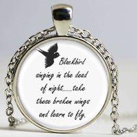 art lyrics - Blackbird Singing In The Dead Of Night necklace Pendant Song Lyrics Art Jewelry