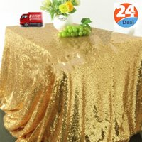 Wholesale JS Sequin Rectangular Inch by Inch Tablecloth Gold