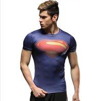 Wholesale New Men s sportswear Men s tights Short sleeved T shirt Fast drying clothing training Film role blazer Transformers Superman Batman Hulk