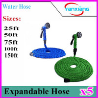 Wholesale 5pcs Hot Selling Expandable Magic Flexible Garden Water Hose Green Hose Plastic Hoses Pipe With Spray Gun To Watering ZY SG