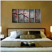 abstract flower photos - 5 piece modern abstract wall art canvas big hand painted red flower photo blossom oil painting on canvas for living room bedroom