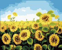 Wholesale New DIY Oil Canvas Painting Wall Art Home Decor Pictures Painting By Numbers Frameless Digital Oil Painting Sunflower cm