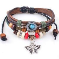 beaded butterfly ornament - Alloy Butterfly Beaded unisex Bracelet leather wax rope bangle women Bracelets wrist bracelet jewelry Make You Attractive Ornaments
